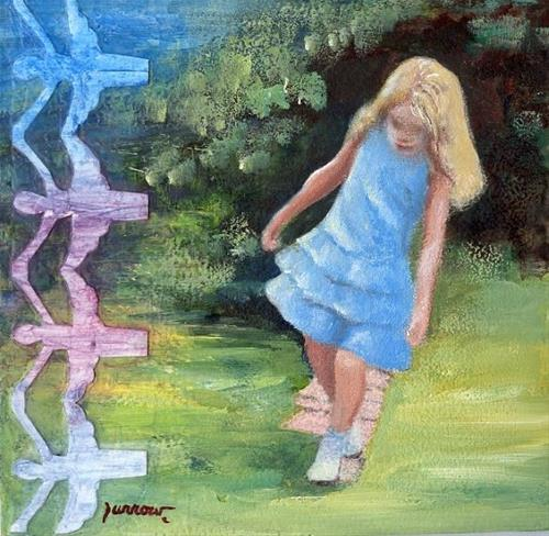 """ORIGINAL PAINTING OF LITTLE GIRL SKIPPING SIDEWALK CRACKS"" original fine art by Sue Furrow"