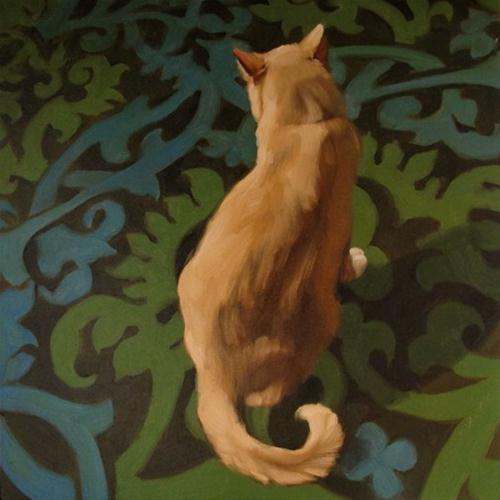 """Monday's Cat orange cat on pattern painting"" original fine art by Diane Hoeptner"