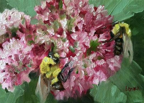"""Bees and Pompoms"" original fine art by Elaine Juska Joseph"