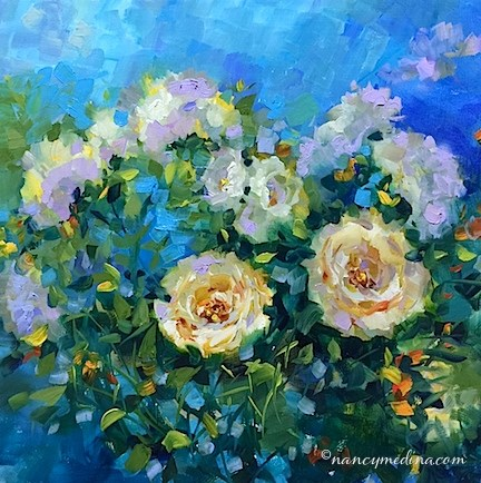 """Cloudless Sky White Roses"" original fine art by Nancy Medina"