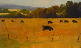 """Cows on Whidbey Island  oil landscape painting"" original fine art by Robin Weiss"
