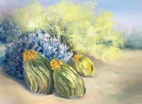 """Barrel Cactus_9 x 12 Oil_Landscape"" original fine art by Donna Pierce-Clark"