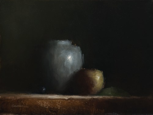 """Vase with Apple"" original fine art by Neil Carroll"