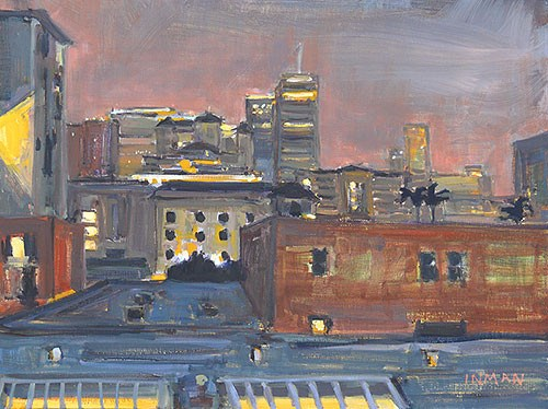 """Downtown Night, San Diego"" original fine art by Kevin Inman"