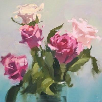 """WHITE PINK ROSE"" original fine art by Helen Cooper"