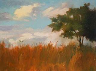 """Yellow Bird   oil landscape painting"" original fine art by Robin Weiss"