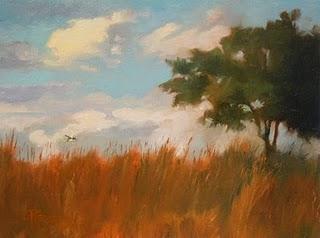 """""""Yellow Bird   oil landscape painting"""" original fine art by Robin Weiss"""