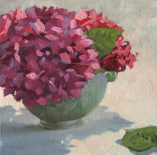 """Red Hydrangeas"" original fine art by Claudia Hammer"