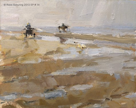 """Seascape spring 14 Horse carriage takes a left turn (available)"" original fine art by Roos Schuring"