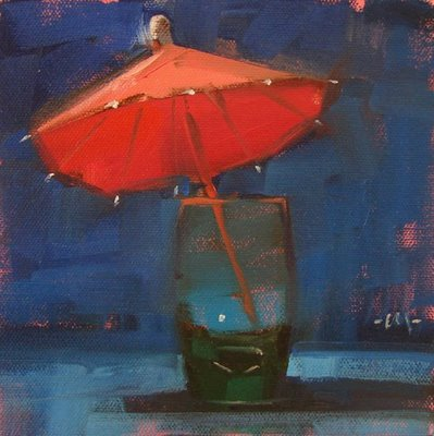 """Drink For One"" original fine art by Carol Marine"
