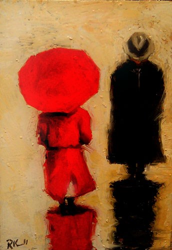 """Walking in the Rain"" original fine art by Bob Kimball"