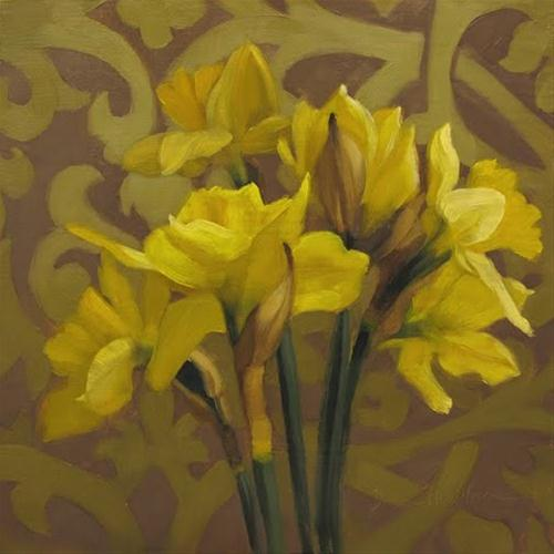 """Daffodils on Pattern original Hoeptner oil painting"" original fine art by Diane Hoeptner"