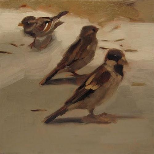 """""""The Lookout painting of sparrows"""" original fine art by Diane Hoeptner"""