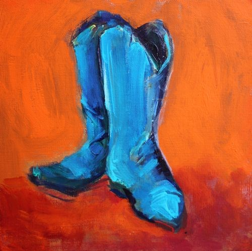 """Blue Boots Contemporary Still Life Paintings by Arizona Artist Amy Whitehouse"" original fine art by Amy Whitehouse"