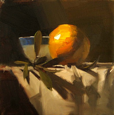 """Orange and Oak --- Sold"" original fine art by Qiang Huang"