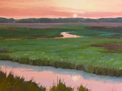 """Exhibit Preview - Emerald Sunset"" original fine art by Laurel Daniel"