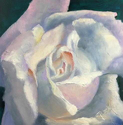 """ROSE GLOW, 6 x 6 Oil, Floral"" original fine art by Donna Pierce-Clark"