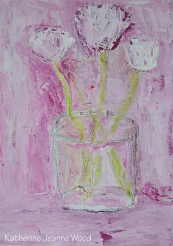 """Pink and white cottage chic floral painting No 147"" original fine art by Katie Jeanne Wood"