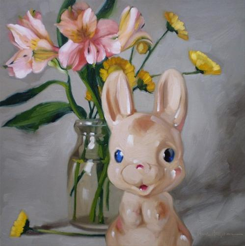 """Bunny & Bouquet porcelain figurine Easter floral"" original fine art by Diane Hoeptner"