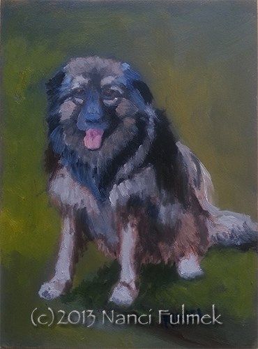 """Franny dog mini portrait"" original fine art by Nanci Fulmek"