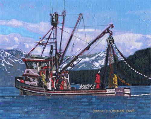 """Alaskan Fishing Boat"" original fine art by Donald Curran"