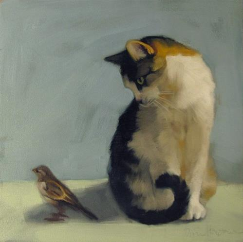 """In the Shadow oil painting cat and bird"" original fine art by Diane Hoeptner"