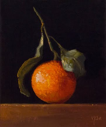 """Satsuma Tangerine with Leaves"" original fine art by Abbey Ryan"