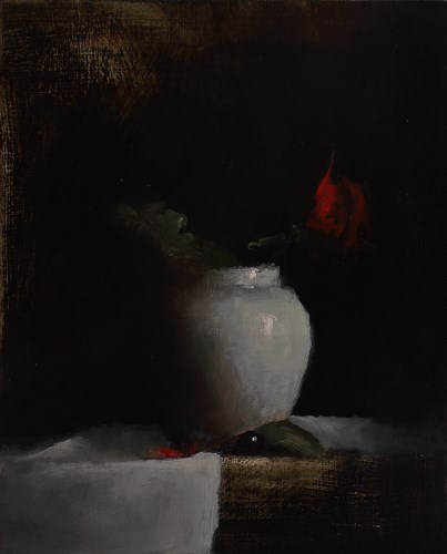 """Vase with Rose"" original fine art by Neil Carroll"