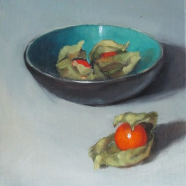 """Physallis and bowl"" original fine art by Liz Balkwill"