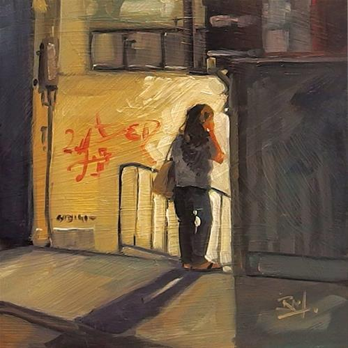 """No 825 Night Call"" original fine art by Robin J Mitchell"