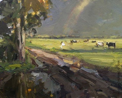 """Cows at my favorite spot"" original fine art by Roos Schuring"