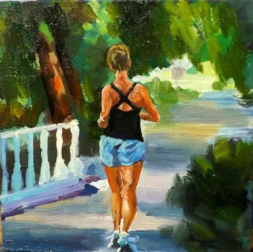 """JOGGING,A24"" original fine art by Run-      Zhang Zane"