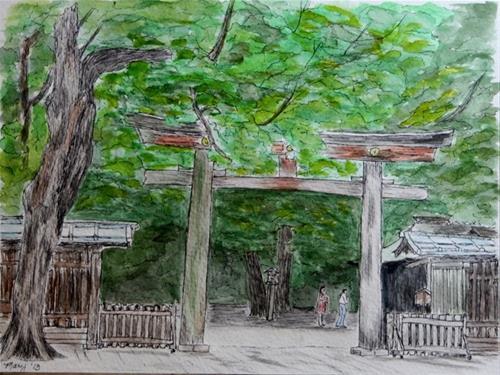 """Shrine in Tokyo"" original fine art by Mary Datum"