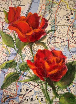 """Love in the Big Apple — Perfect Valentine Gift!"" original fine art by Jamie Williams Grossman"