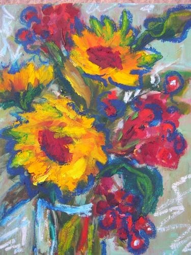 """Sunflowers and Berries, Contemporary Floral Paintings by Arizona Artist Amy Whitehouse"" original fine art by Amy Whitehouse"