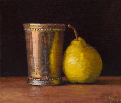 """Silver Cup with Bartlett Pear"" original fine art by Abbey Ryan"