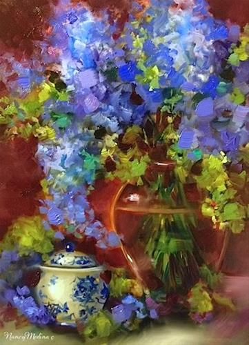 """Sugar Jar Delphiniums by Nancy Medina"" original fine art by Nancy Medina"