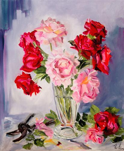 """Red and pink roses"" original fine art by Evelyne Heimburger Evhe"
