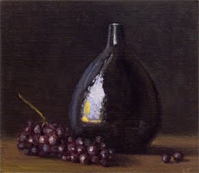 """Still Life with Drop Vase and Champagne Grapes"" original fine art by Abbey Ryan"