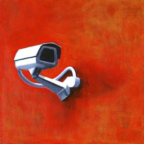 """Security Camera 27- Still Life Painting Of CCTV Surveillance Camera"" original fine art by Gerard Boersma"