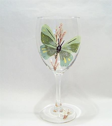 """Glass Art, Painted Wine Glass Green Butterfly by Mary Arneson Art-Works of Whimsy"" original fine art by Mary Arneson"
