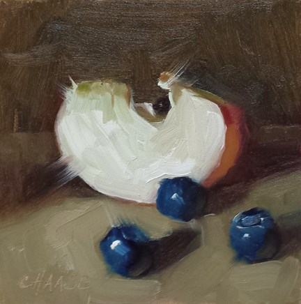 """""""Apple Slice and Blueberries"""" original fine art by Cindy Haase"""