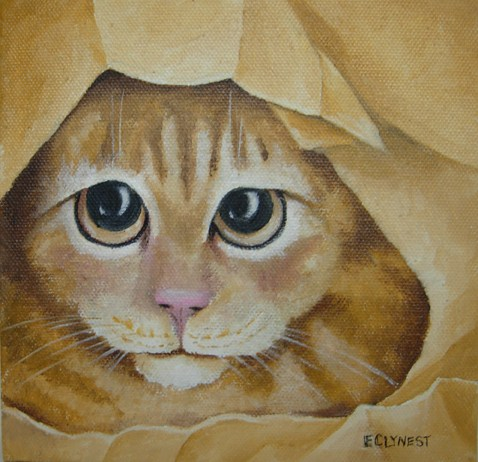 """Cat-in-a-Bag!"" original fine art by Elaine Lynest"