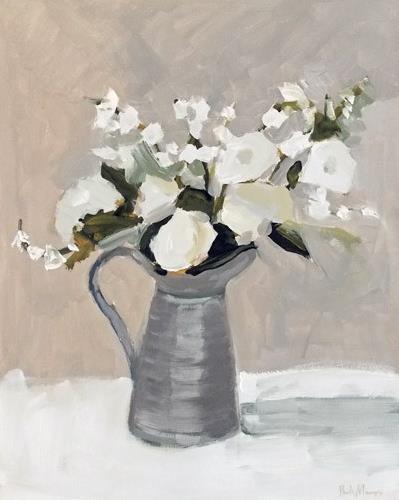 """White in Pewter Jug III"" original fine art by Pamela Munger"