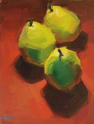 """""""Drei Birnen"""" original fine art by Carol Marine"""