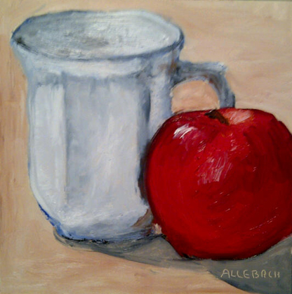"""cup and apple"" original fine art by Jo Allebach"