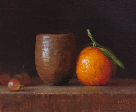 """Japanese Vase with Tangerine and Grapes"" original fine art by Abbey Ryan"