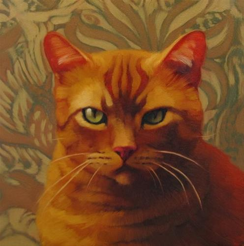 """Serious painting of serious cat"" original fine art by Diane Hoeptner"