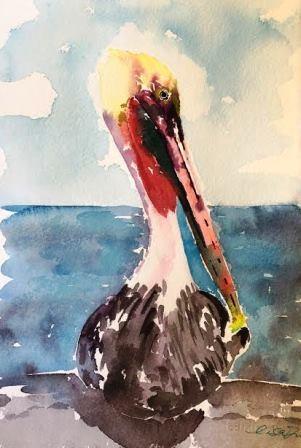 """""""Pelican at Oceanside Pier"""" original fine art by Lisa Fu"""