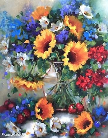 """A New Sunflower Video - Strawberry Souffle Sunflower Bouquet - Flower Paintings by Nancy Medina"" original fine art by Nancy Medina"